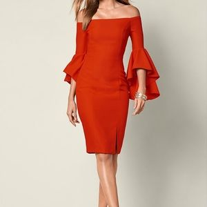 Venus red/orange off-the-shoulder ruffle dress